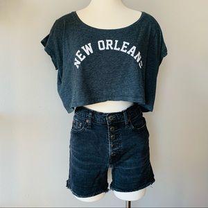 New Orleans crop top short sleeve T-shirt gray OS